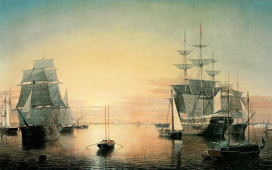 Fitz Hugh Lane Painting - Boston Harbor by Fitz Hugh Lane