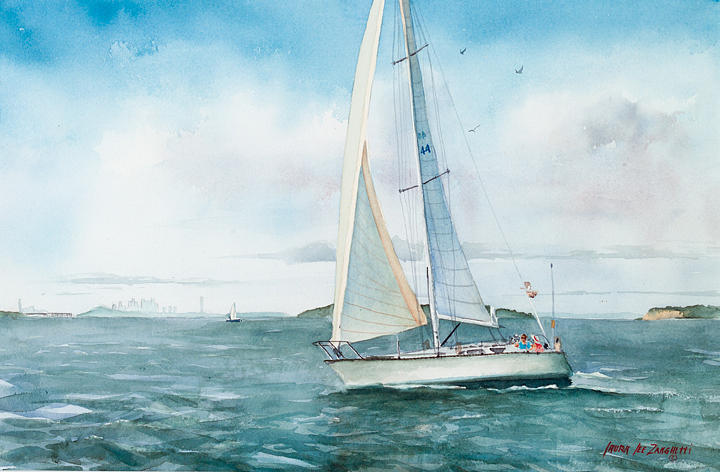 Seascape Painting - Boston Harbor Islands by Laura Lee Zanghetti
