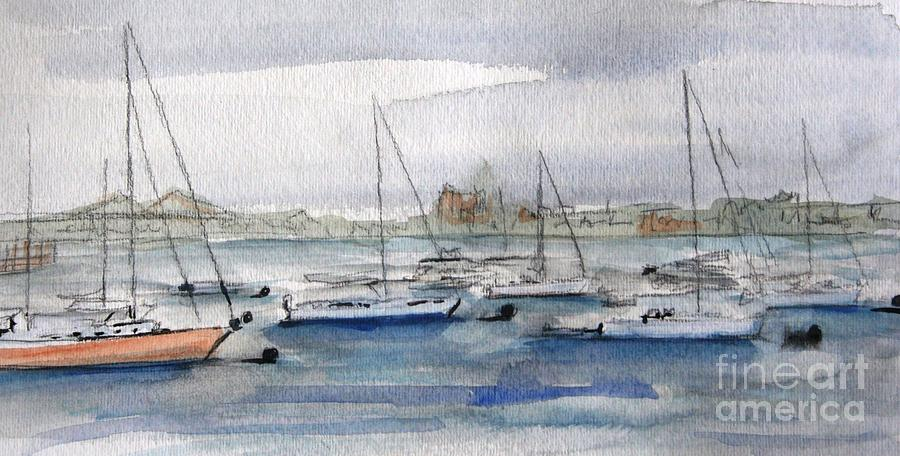 Boats Painting - Boston Harbor  by Julie Lueders