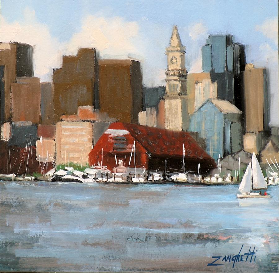 Seascape Painting - Boston Harbor by Laura Lee Zanghetti