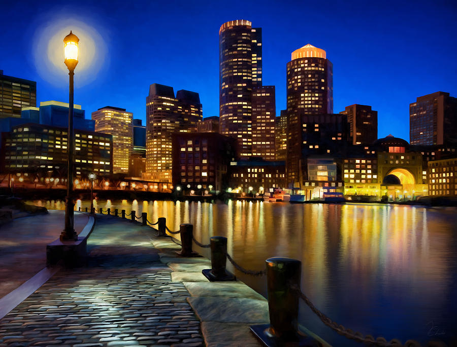 Boston Painting - Boston Harbor Skyline Painting Of Boston Massachusetts by James Charles
