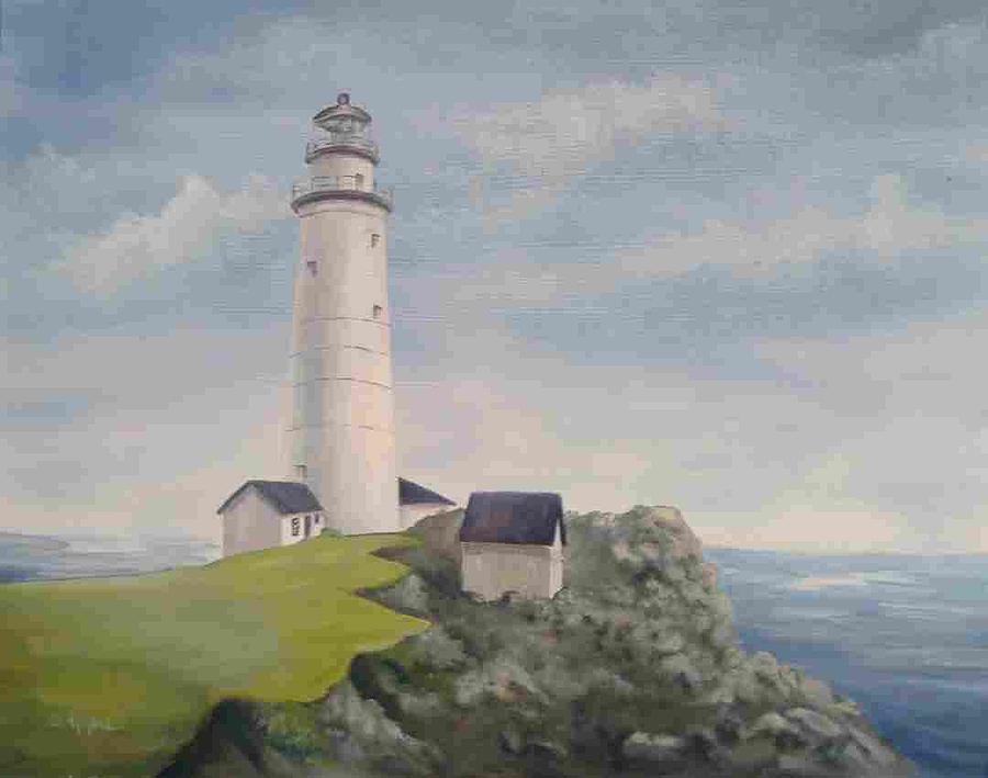 Lighthouse Painting - Boston Lighthouse by Della Kaple