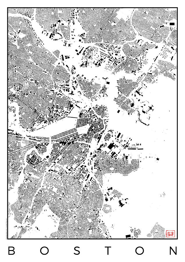 Boston Map Urban Plan Digital Art By Hubert Roguski