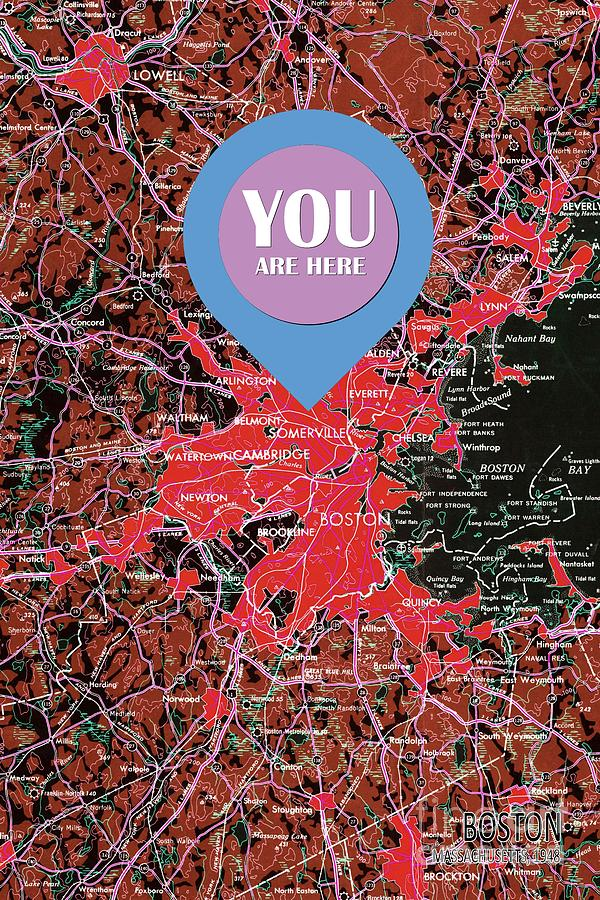Boston Painting - Boston Massachusetts 1948 Red Old Map You Are Here by Drawspots Illustrations