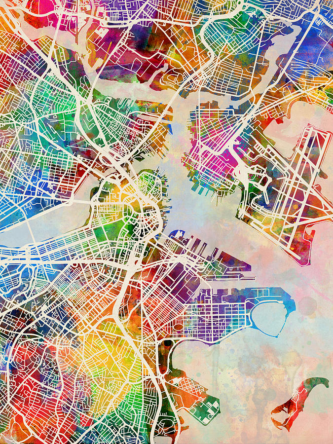 City Map Digital Art - Boston Massachusetts Street Map by Michael Tompsett