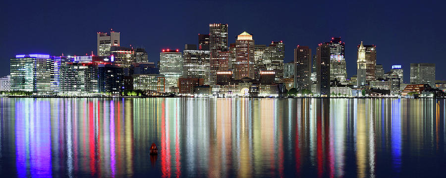Boston Skyline Photograph - Boston Night Skyline Panorama by Milan Kupcevic