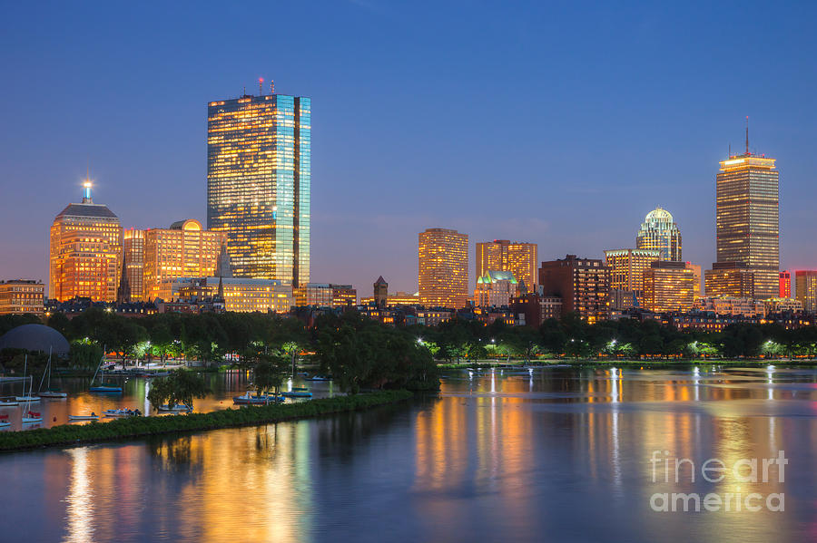 Architectural Photograph - Boston Night Skyline II by Clarence Holmes