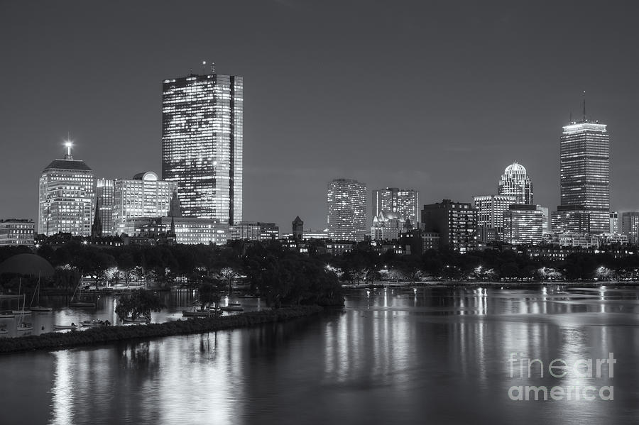 America Photograph - Boston Night Skyline V by Clarence Holmes