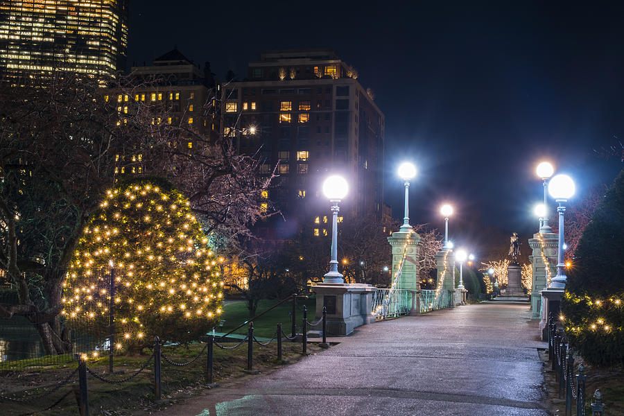 Boston public garden bridge christmas lights hancock photograph by boston photograph boston public garden bridge christmas lights hancock by toby mcguire sciox Images