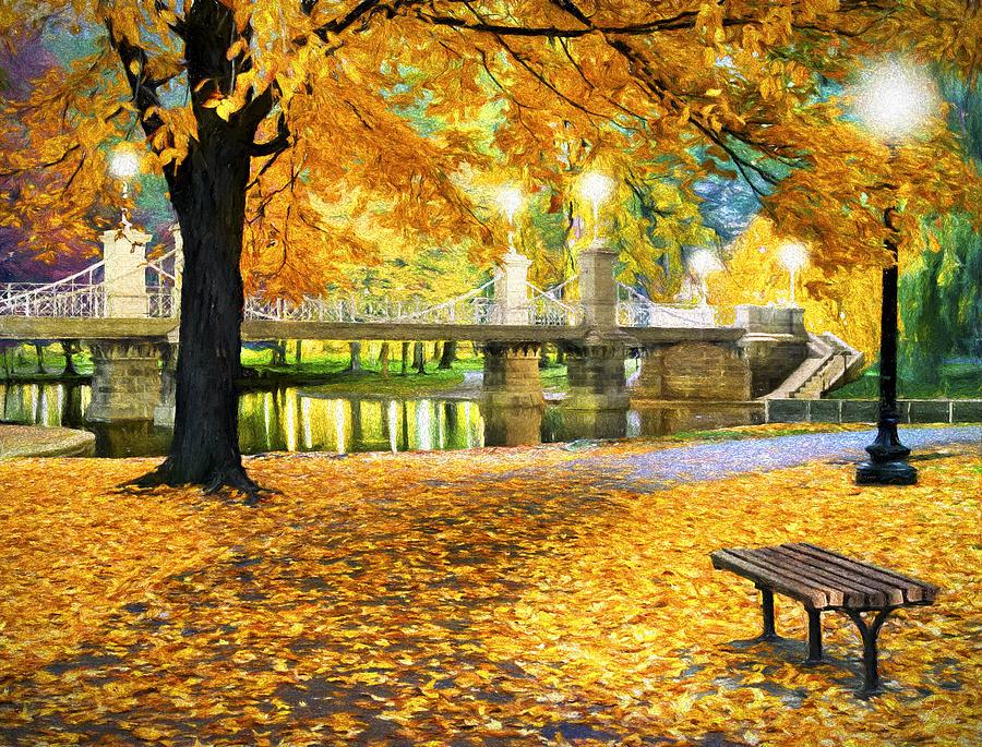 Boston Painting - Boston Public Garden by James Charles