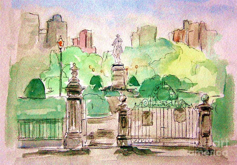 Boston Public Gardens Painting - Boston Public Gardens by Julie Lueders