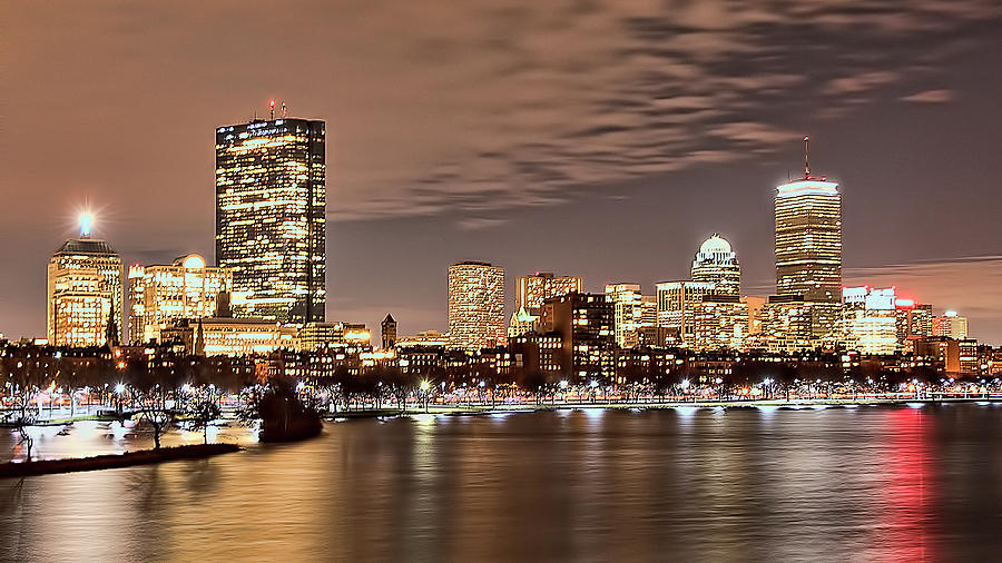 Boston Skyline At Night Photograph By Karen Regan