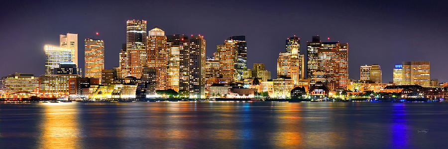 Boston Skyline At Night Panorama Photograph By Jon Holiday