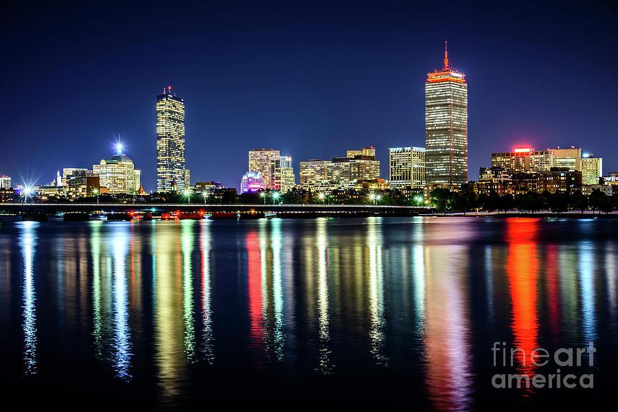 Boston Skyline At Night With Harvard Bridge Photograph By