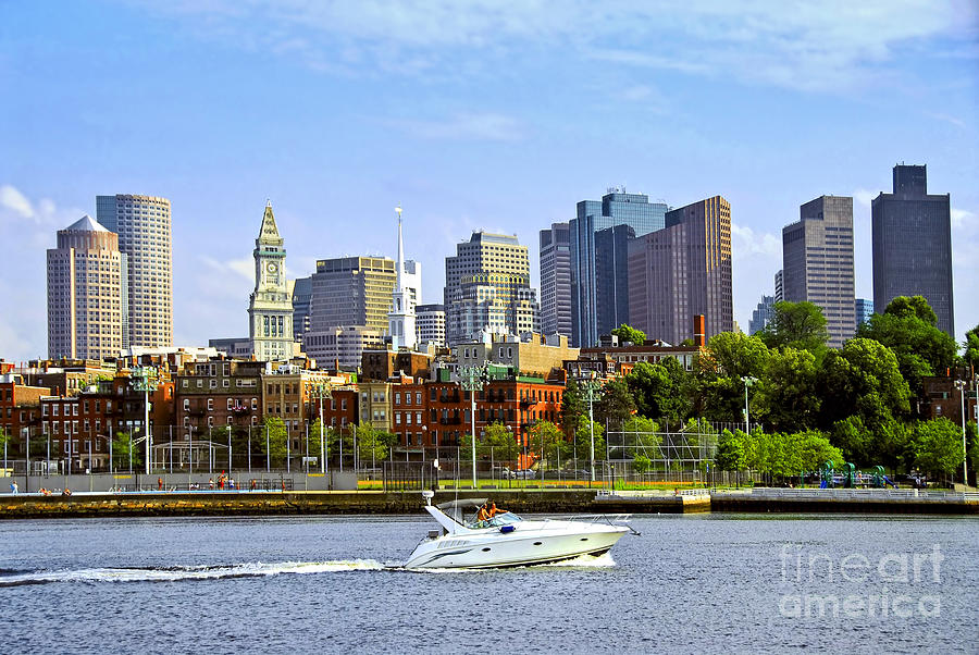 Boat Photograph - Boston Skyline by Elena Elisseeva