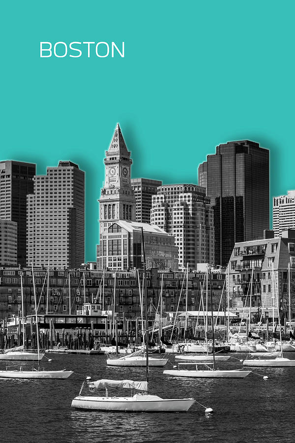 Boston Digital Art - Boston Skyline - Graphic Art - Cyan by Melanie Viola
