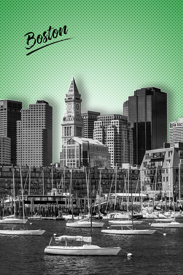 Boston Digital Art - Boston Skyline - Graphic Art - Green by Melanie Viola