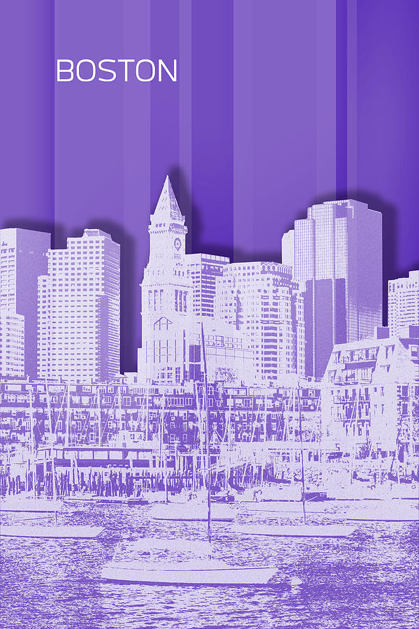 Boston Digital Art - Boston Skyline - Graphic Art - Purple by Melanie Viola