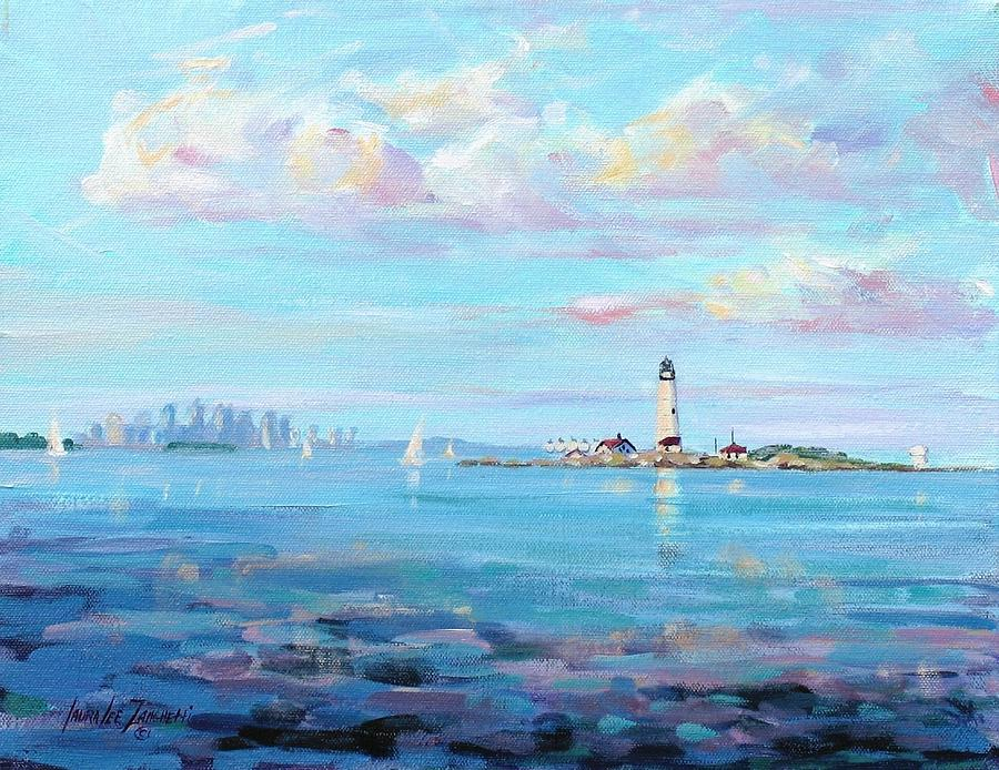 Seascape Painting - Boston Skyline by Laura Lee Zanghetti