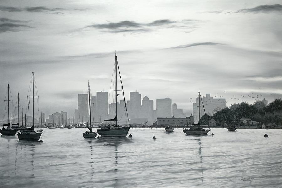 Boston Skyline Painting - Boston Skyline  by Matthew Martelli