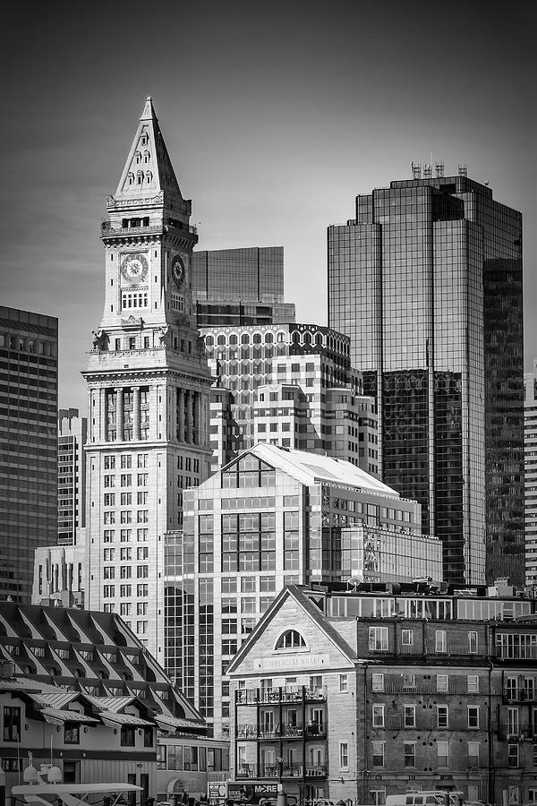 Boston Photograph - Boston Skyline North End And Financial District - Monochrom by Melanie Viola