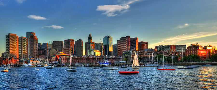 Boston Photograph - Boston Skyline Panoramic - Boston Harbor by Joann Vitali