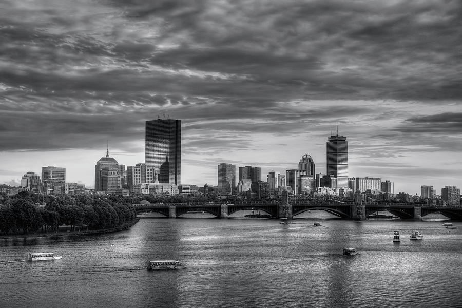 Massachusetts Photograph - Boston Skyline Sunset Over Back Bay In Bw by Joann Vitali