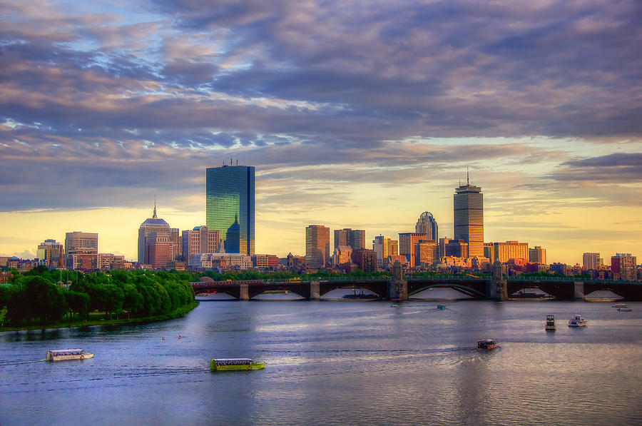 Boston Skyline Photograph - Boston Skyline Sunset Over Back Bay by Joann Vitali