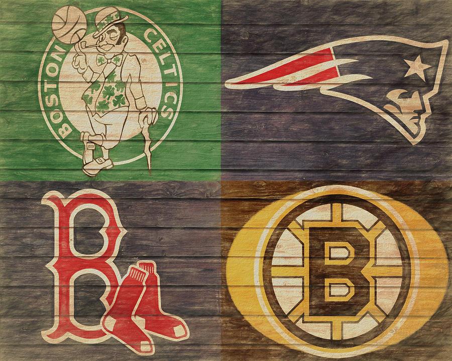 Boston Sports Teams Barn Door Mixed Media