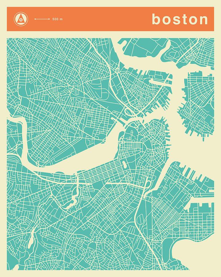 Boston Street Map Digital Art by Jazzberry Blue