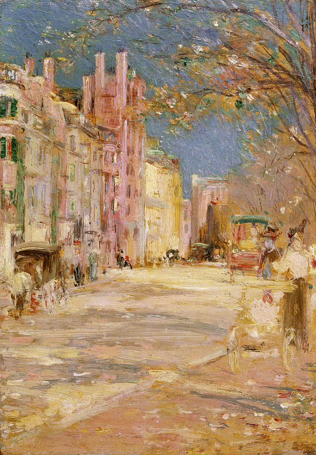 Edward Mitchell Bannister Painting - Boston Street Scene. Boston Common by Edward Mitchell Bannister