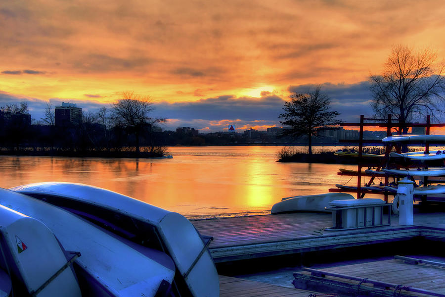 Boston Photograph - Boston Sunset On The Charles River With Citgo Sign by Joann Vitali