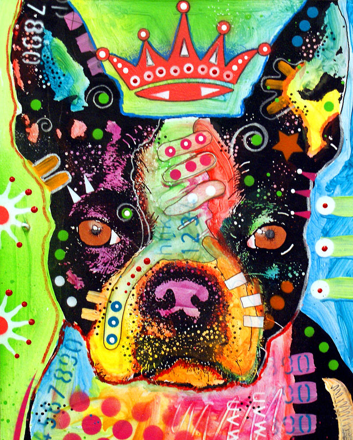 Boston Terrier Painting - Boston Terrier Crowned by Dean Russo