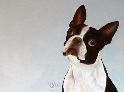 Boston Terrier Painting by Dick Larsen