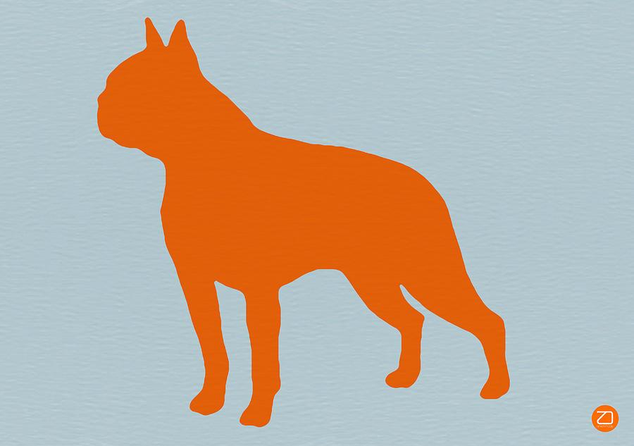 Boston Terrier Digital Art - Boston Terrier Orange by Naxart Studio