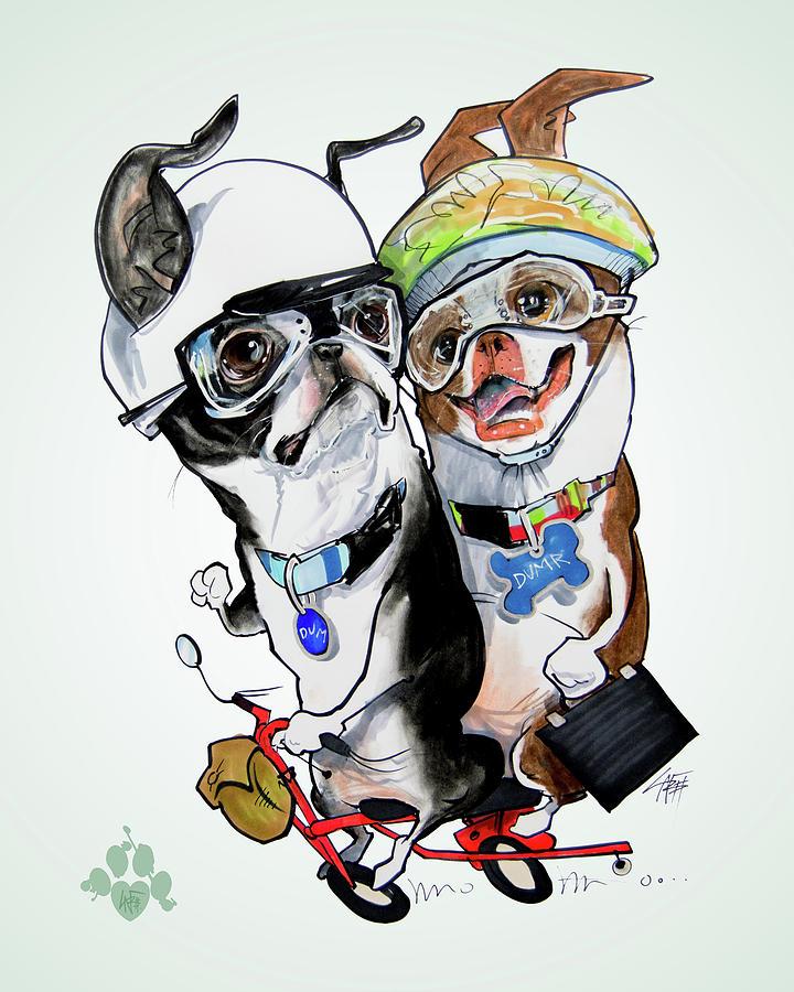 Boston Terrier Drawing - Boston Terriers - Dumb And Dumber by John LaFree