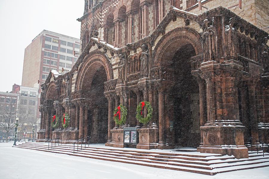Christmas In Boston Massachusetts.Boston Trinity Church Christmas Wreaths Boston Ma By Toby Mcguire