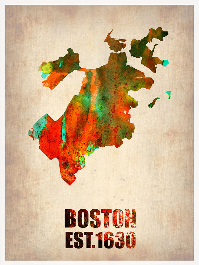 Boston Painting - Boston Watercolor Map  by Naxart Studio