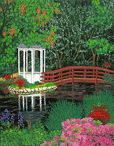 Fine Painting - Botanical Garden Park Walk Pink Azaleas Bridge Gazebo Flowering Trees Pond by Patti Baslee