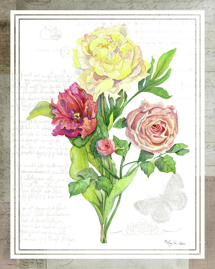 Botanical Painting - Botanical Vintage Style Watercolor Floral 3 - Peony Tulip And Rose With Butterfly by Audrey Jeanne Roberts