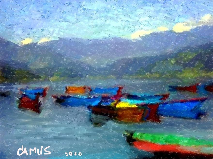 Paint Painting - Botes by Carlos Camus
