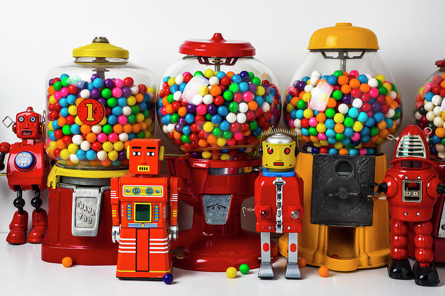 Candy Photograph - Bots And Bubblegum Machines by Garry Gay