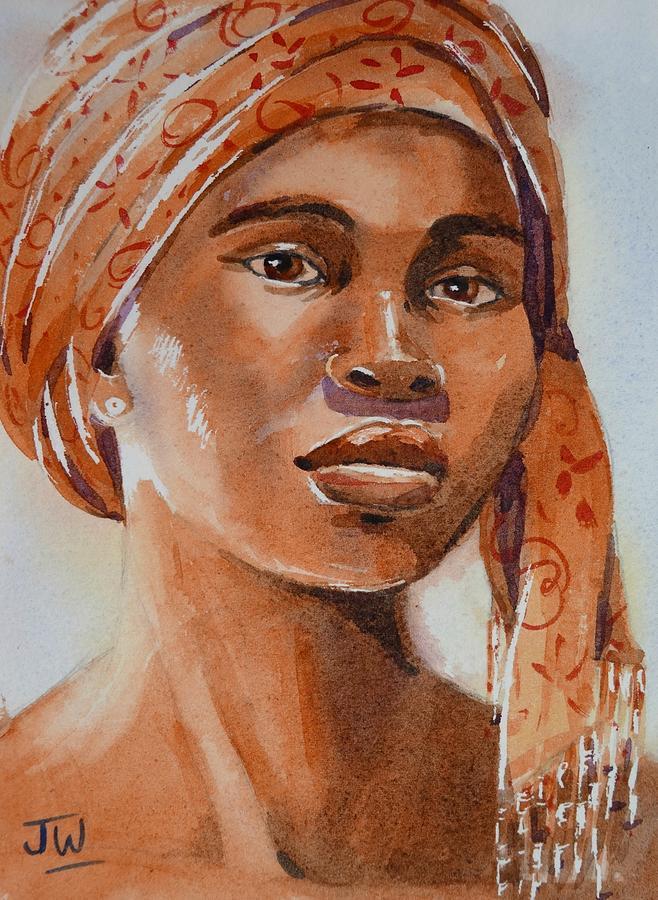 Botswana woman wearing head wrap by June Walker