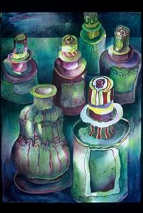 Shades Of Green Painting - Bottle Collection by Judy Shantz Honey