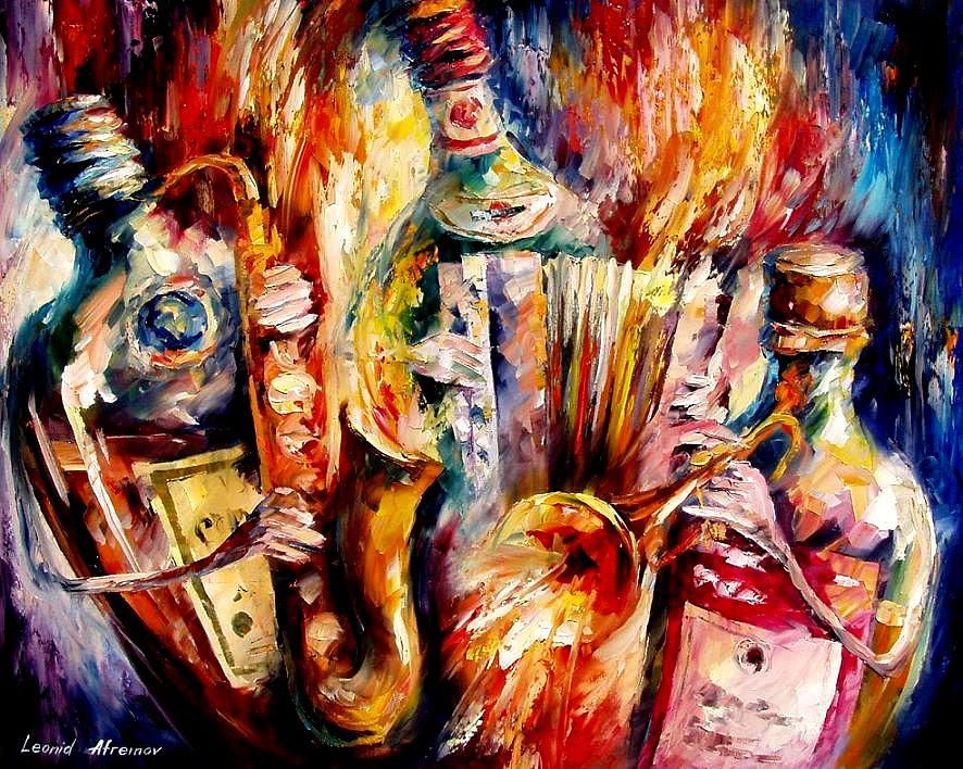 Bottle Jazz Painting by Leonid Afremov