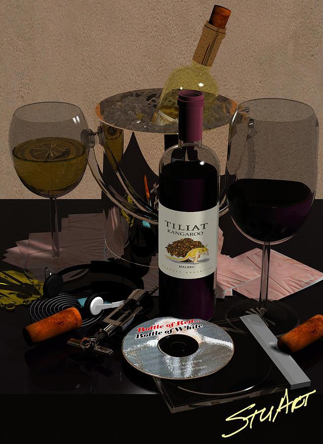 Wine Digital Art - Bottle Of Red...bottle Of White by Stuart Stone