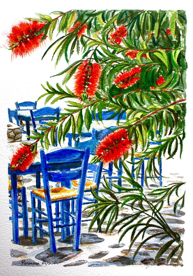 Red Painting - Bottlebrush And Blue by Yvonne Ayoub