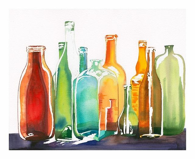 Shades Painting - Bottles by Elena Mahoney