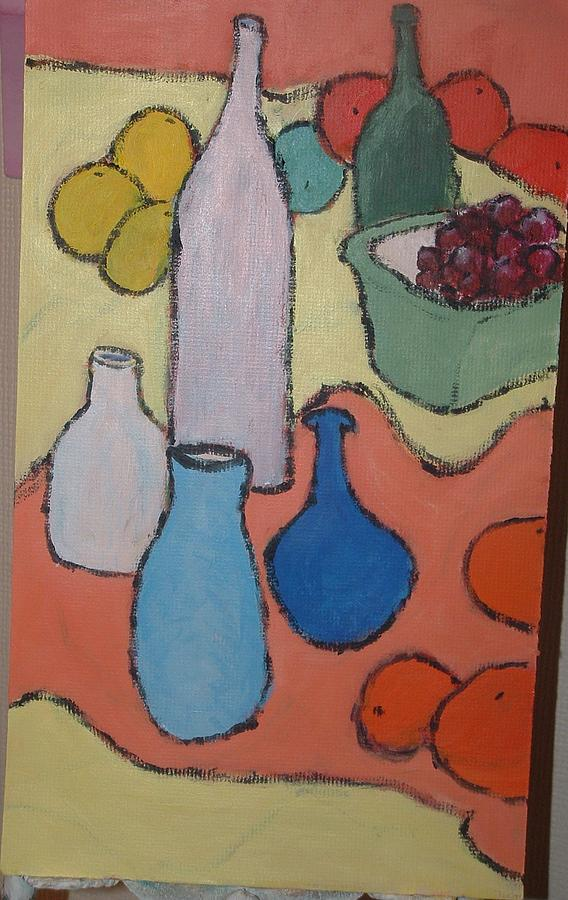Bottles Fruit And Vases Painting by Bernard Victor