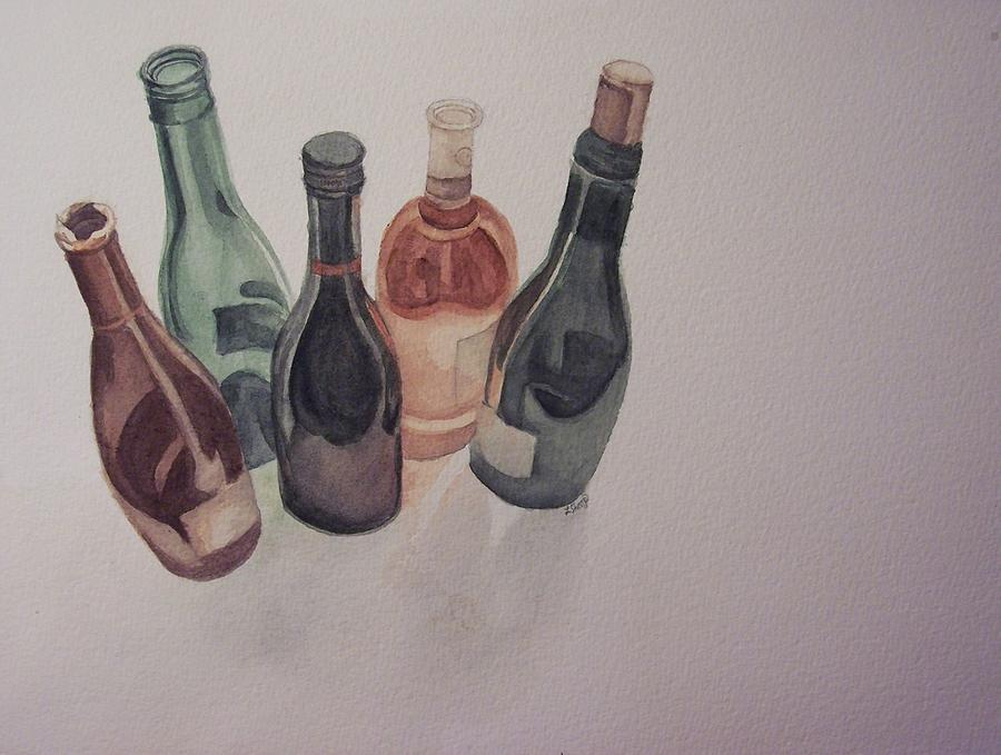 Wine Painting - Bottles by Laura Shoop